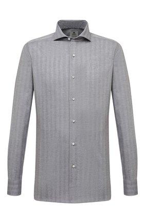 Мужская хлопковая сорочка LUIGI BORRELLI серого цвета, арт. SR1103/FELICE/ST/EV/PC | Фото 1 (Материал внешний: Хлопок; Случай: Формальный; Рукава: Длинные; Принт: Полоска; Стили: Классический; Рубашки М: Super Slim Fit; Манжеты: На пуговицах; Воротник: Акула)