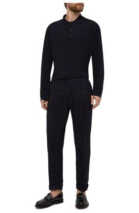 Мужские шерстяные брюки ANDREA CAMPAGNA темно-синего цвета, арт. VULCAN0Z/VB1456 | Фото 2 (Материал подклада: Синтетический материал; Материал внешний: Шерсть; Случай: Повседневный; Стили: Классический; Длина (брюки, джинсы): Стандартные)