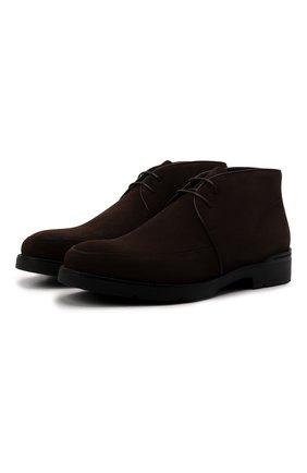 Мужские замшевые ботинки ERMENEGILDO ZEGNA темно-коричневого цвета, арт. A5090X-LHKUD | Фото 1 (Подошва: Плоская; Материал внутренний: Натуральная кожа; Мужское Кросс-КТ: Ботинки-обувь, Дезерты-обувь; Материал внешний: Замша)