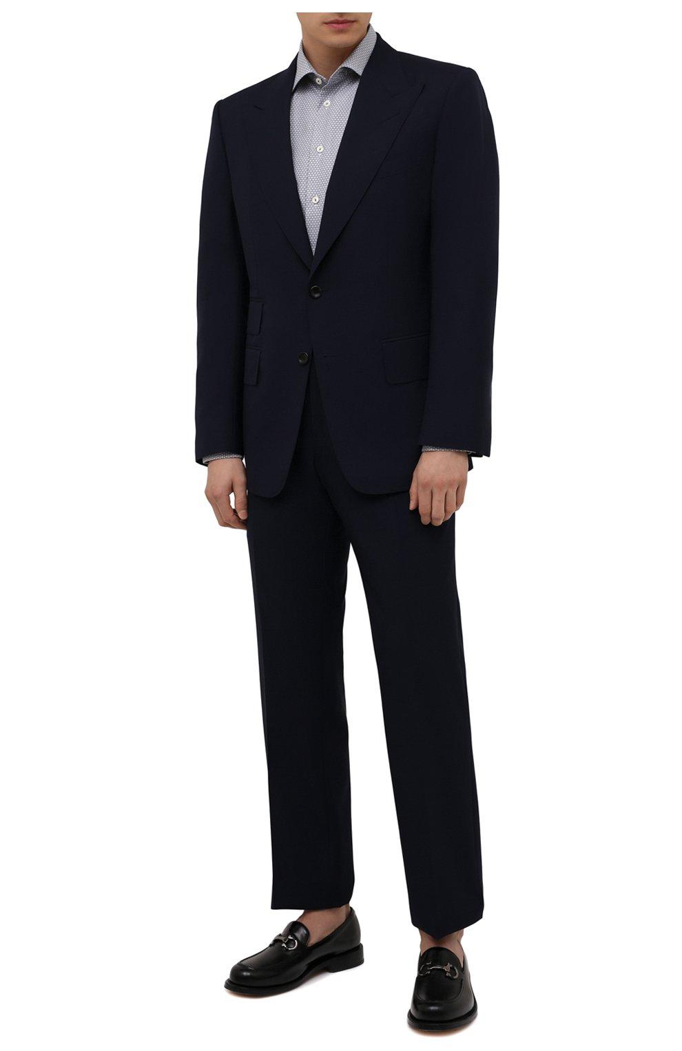 Мужская хлопковая сорочка ETON синего цвета, арт. 1000 03084   Фото 2 (Манжеты: На пуговицах; Рукава: Длинные; Воротник: Акула; Длина (для топов): Стандартные; Принт: С принтом; Рубашки М: Slim Fit; Материал внешний: Хлопок; Стили: Классический; Случай: Формальный)