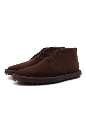 Мужские замшевые ботинки TOD'S темно-коричневого цвета, арт. XXM06G0ES50RE0 | Фото 1 (Материал внутренний: Натуральная кожа; Мужское Кросс-КТ: Ботинки-обувь, Дезерты-обувь; Материал внешний: Замша; Подошва: Плоская)