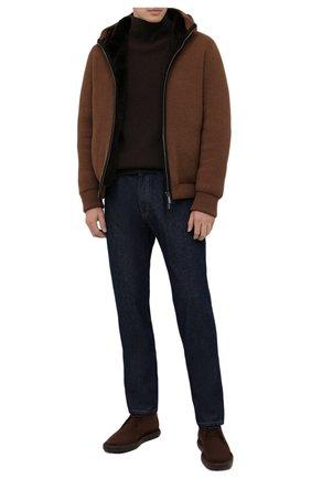 Мужские замшевые ботинки TOD'S темно-коричневого цвета, арт. XXM06G0ES50RE0 | Фото 2 (Материал внутренний: Натуральная кожа; Мужское Кросс-КТ: Ботинки-обувь, Дезерты-обувь; Материал внешний: Замша; Подошва: Плоская)