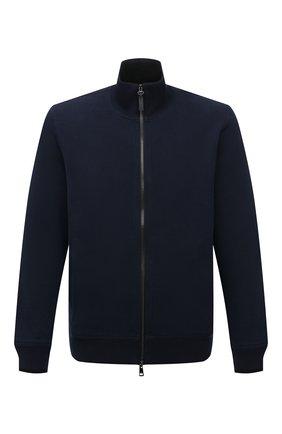 Мужской хлопковый кардиган BRIONI темно-синего цвета, арт. UJDI0L/01637 | Фото 1 (Рукава: Длинные; Длина (для топов): Стандартные; Материал внешний: Хлопок; Мужское Кросс-КТ: Кардиган-одежда; Стили: Кэжуэл)