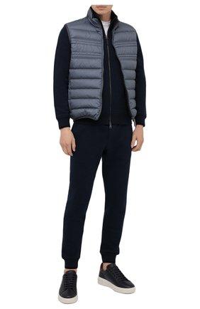 Мужской хлопковый кардиган BRIONI темно-синего цвета, арт. UJDI0L/01637 | Фото 2 (Рукава: Длинные; Длина (для топов): Стандартные; Материал внешний: Хлопок; Мужское Кросс-КТ: Кардиган-одежда; Стили: Кэжуэл)