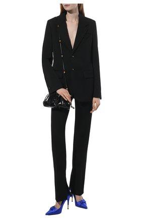 Женские текстильные туфли satin bow TOM FORD синего цвета, арт. W2927T-TSA001 | Фото 2 (Материал внешний: Текстиль; Материал внутренний: Натуральная кожа; Каблук тип: Шпилька; Каблук высота: Высокий; Подошва: Плоская)