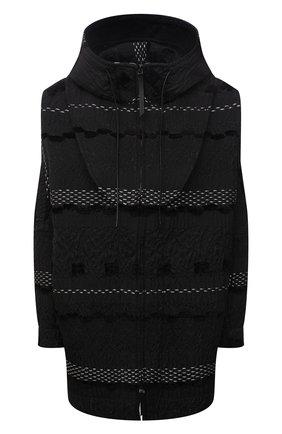 Женская куртка GIORGIO ARMANI темно-серого цвета, арт. 1WH0C06A/T02Q9 | Фото 1 (Длина (верхняя одежда): Короткие; Рукава: Длинные; Материал внешний: Синтетический материал; Стили: Кэжуэл; Кросс-КТ: Куртка)