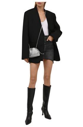 Женская джинсовая юбка BALENCIAGA серого цвета, арт. 675236/TJW78 | Фото 2 (Материал внешний: Хлопок; Длина Ж (юбки, платья, шорты): Мини; Стили: Гламурный; Кросс-КТ: Деним; Женское Кросс-КТ: Юбка-одежда)