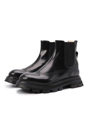 Женские кожаные ботинки ALEXANDER MCQUEEN черного цвета, арт. 676742/WHZ8L | Фото 1 (Каблук высота: Низкий; Подошва: Платформа; Материал утеплителя: Натуральный мех; Женское Кросс-КТ: Челси-ботинки)