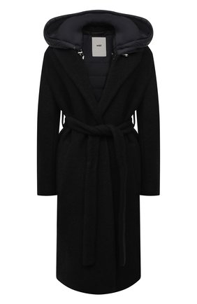 Женское шерстяное пальто ADD черного цвета, арт. 4AWN77 | Фото 1 (Материал внешний: Шерсть; Рукава: Длинные; Материал подклада: Синтетический материал; Длина (верхняя одежда): До колена; Стили: Кэжуэл; 1-2-бортные: Однобортные)