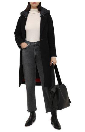 Женское шерстяное пальто ADD черного цвета, арт. 4AWN77 | Фото 2 (Материал внешний: Шерсть; Рукава: Длинные; Материал подклада: Синтетический материал; Длина (верхняя одежда): До колена; Стили: Кэжуэл; 1-2-бортные: Однобортные)