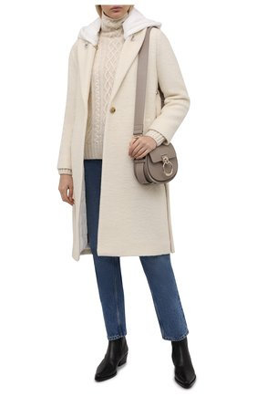 Женское шерстяное пальто ADD кремвого цвета, арт. 4AWN77 | Фото 2 (Материал подклада: Синтетический материал; Рукава: Длинные; Длина (верхняя одежда): До колена; Материал внешний: Шерсть; Стили: Минимализм; 1-2-бортные: Однобортные)
