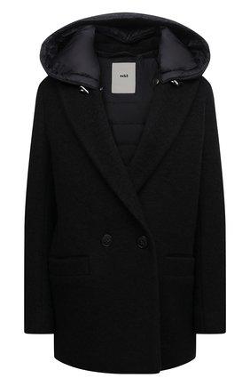 Женское шерстяное пальто ADD черного цвета, арт. 4AWN75 | Фото 1 (Материал подклада: Синтетический материал; Длина (верхняя одежда): Короткие; Рукава: Длинные; Материал внешний: Шерсть; Стили: Минимализм; 1-2-бортные: Двубортные)