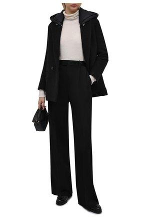Женское шерстяное пальто ADD черного цвета, арт. 4AWN75 | Фото 2 (Материал подклада: Синтетический материал; Длина (верхняя одежда): Короткие; Рукава: Длинные; Материал внешний: Шерсть; Стили: Минимализм; 1-2-бортные: Двубортные)