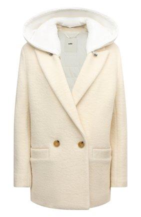 Женское шерстяное пальто ADD кремвого цвета, арт. 4AWN75 | Фото 1 (Материал подклада: Синтетический материал; Длина (верхняя одежда): Короткие; Рукава: Длинные; Материал внешний: Шерсть; Стили: Минимализм; 1-2-бортные: Двубортные)