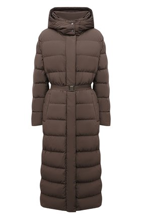 Женская пуховая куртка ADD коричневого цвета, арт. 4AW629 | Фото 1 (Длина (верхняя одежда): Длинные; Материал внешний: Синтетический материал; Материал подклада: Синтетический материал; Рукава: Длинные; Материал утеплителя: Пух и перо; Стили: Кэжуэл; Женское Кросс-КТ: Пуховик-куртка)