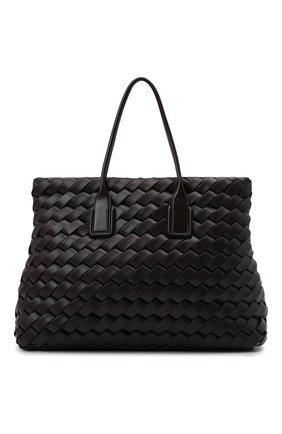Женский сумка-тоут snap maxi BOTTEGA VENETA темно-коричневого цвета, арт. 666904/V14P1   Фото 1 (Материал: Натуральная кожа; Размер: large; Сумки-технические: Сумки-шопперы)
