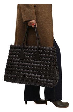 Женский сумка-тоут snap maxi BOTTEGA VENETA темно-коричневого цвета, арт. 666904/V14P1   Фото 2 (Материал: Натуральная кожа; Размер: large; Сумки-технические: Сумки-шопперы)