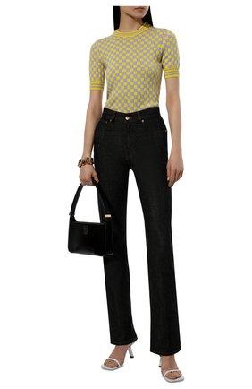 Женские джинсы JACQUEMUS темно-синего цвета, арт. 213DE001-1400   Фото 2 (Материал внешний: Хлопок; Длина (брюки, джинсы): Стандартные; Стили: Минимализм; Кросс-КТ: Деним; Силуэт Ж (брюки и джинсы): Расклешенные)