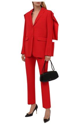 Женские шерстяные брюки BURBERRY красного цвета, арт. 8046752   Фото 2 (Материал внешний: Шерсть; Материал подклада: Купро; Длина (брюки, джинсы): Стандартные; Стили: Гламурный; Женское Кросс-КТ: Брюки-одежда; Силуэт Ж (брюки и джинсы): Узкие)