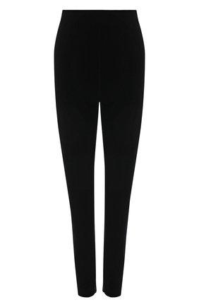 Женские брюки SAINT LAURENT черного цвета, арт. 662846/Y3D02   Фото 1 (Материал внешний: Синтетический материал; Длина (брюки, джинсы): Стандартные; Стили: Гламурный; Женское Кросс-КТ: Брюки-одежда; Силуэт Ж (брюки и джинсы): Узкие)