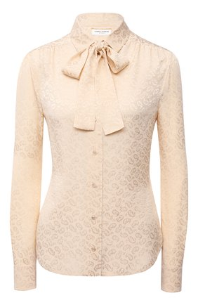 Женская шелковая блузка SAINT LAURENT светло-бежевого цвета, арт. 660889/Y5D16   Фото 1 (Рукава: Длинные; Длина (для топов): Стандартные; Материал внешний: Шелк; Стили: Романтичный; Принт: Без принта; Женское Кросс-КТ: Блуза-одежда)