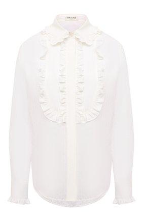 Женская блузка из хлопка и шелка SAINT LAURENT белого цвета, арт. 656972/Y3D31 | Фото 1 (Материал внешний: Хлопок; Рукава: Длинные; Длина (для топов): Стандартные; Стили: Романтичный; Принт: Без принта; Женское Кросс-КТ: Блуза-одежда)