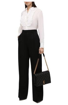 Женская блузка из хлопка и шелка SAINT LAURENT белого цвета, арт. 656972/Y3D31   Фото 2 (Материал внешний: Хлопок; Рукава: Длинные; Длина (для топов): Стандартные; Стили: Романтичный; Принт: Без принта; Женское Кросс-КТ: Блуза-одежда)