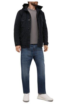 Мужская пуховая куртка STONE ISLAND темно-синего цвета, арт. 751541649 | Фото 2 (Материал внешний: Синтетический материал; Материал утеплителя: Пух и перо; Материал подклада: Синтетический материал; Кросс-КТ: Куртка; Длина (верхняя одежда): Короткие; Рукава: Длинные; Мужское Кросс-КТ: пуховик-короткий; Стили: Кэжуэл)