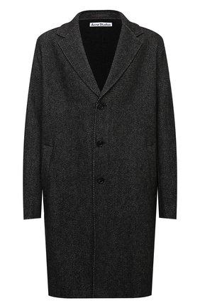Мужской шерстяное пальто ACNE STUDIOS темно-серого цвета, арт. B90534 | Фото 1 (Материал внешний: Шерсть; Материал подклада: Синтетический материал; Мужское Кросс-КТ: пальто-верхняя одежда; Рукава: Длинные; Длина (верхняя одежда): До колена; Стили: Минимализм)