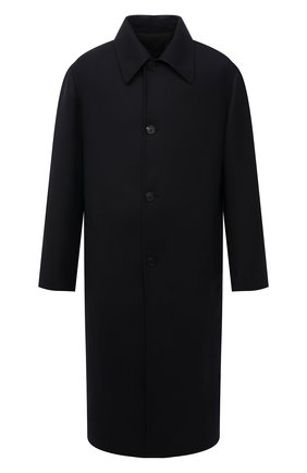 Мужской шерстяное пальто THE ROW темно-синего цвета, арт. 276W1913 | Фото 1 (Материал подклада: Купро; Рукава: Длинные; Длина (верхняя одежда): Длинные; Материал внешний: Шерсть; Мужское Кросс-КТ: пальто-верхняя одежда; Стили: Минимализм)