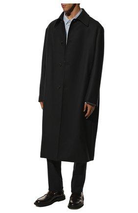 Мужской шерстяное пальто THE ROW темно-синего цвета, арт. 276W1913 | Фото 2 (Материал подклада: Купро; Рукава: Длинные; Длина (верхняя одежда): Длинные; Материал внешний: Шерсть; Мужское Кросс-КТ: пальто-верхняя одежда; Стили: Минимализм)