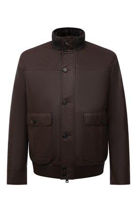 Мужской кожаный бомбер с меховой подкладкой BRIONI коричневого цвета, арт. PLAC0L/P7708   Фото 1 (Рукава: Длинные; Длина (верхняя одежда): Короткие; Кросс-КТ: Куртка; Принт: Без принта; Мужское Кросс-КТ: Кожа и замша, утепленные куртки; Стили: Кэжуэл)