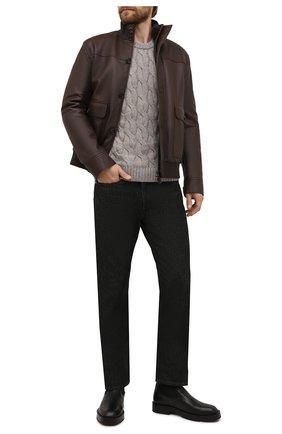 Мужской кожаный бомбер с меховой подкладкой BRIONI коричневого цвета, арт. PLAC0L/P7708   Фото 2 (Рукава: Длинные; Длина (верхняя одежда): Короткие; Кросс-КТ: Куртка; Принт: Без принта; Мужское Кросс-КТ: Кожа и замша, утепленные куртки; Стили: Кэжуэл)