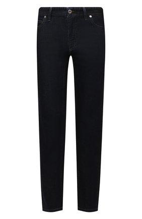 Мужские джинсы с отделкой из кожи каймана BRIONI темно-синего цвета, арт. SPPC0L/01D07/CHAM0NIX/CCR0   Фото 1 (Длина (брюки, джинсы): Стандартные; Материал внешний: Хлопок; Кросс-КТ: Деним; Силуэт М (брюки): Прямые; Стили: Кэжуэл)