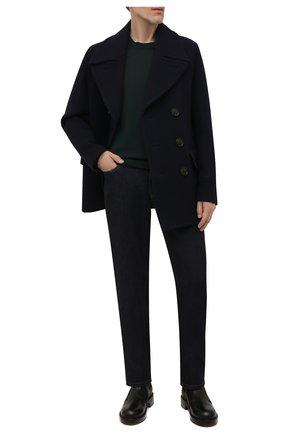 Мужские джинсы с отделкой из кожи каймана BRIONI темно-синего цвета, арт. SPPC0L/01D07/CHAM0NIX/CCR0   Фото 2 (Длина (брюки, джинсы): Стандартные; Материал внешний: Хлопок; Кросс-КТ: Деним; Силуэт М (брюки): Прямые; Стили: Кэжуэл)