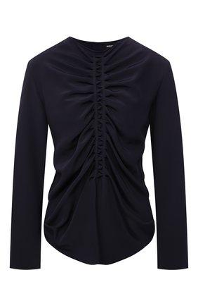 Женская шелковая блузка GIORGIO ARMANI темно-синего цвета, арт. 1WHCC023/T02TV | Фото 1 (Длина (для топов): Стандартные; Рукава: Длинные; Материал внешний: Шелк; Женское Кросс-КТ: Блуза-одежда; Принт: Без принта; Стили: Романтичный)