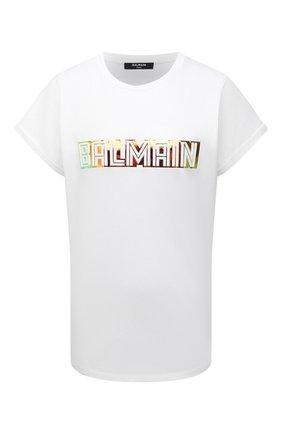 Женская хлопковая футболка BALMAIN белого цвета, арт. WF0EF010/B098   Фото 1 (Материал внешний: Хлопок; Женское Кросс-КТ: Футболка-одежда; Длина (для топов): Стандартные; Рукава: Короткие; Принт: С принтом; Стили: Гламурный)