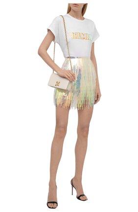 Женская хлопковая футболка BALMAIN белого цвета, арт. WF0EF010/B098   Фото 2 (Материал внешний: Хлопок; Женское Кросс-КТ: Футболка-одежда; Длина (для топов): Стандартные; Рукава: Короткие; Принт: С принтом; Стили: Гламурный)