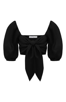 Женский льняной топ FAITHFULL THE BRAND черного цвета, арт. FF1670-BLK   Фото 1 (Материал подклада: Лен; Материал внешний: Лен; Длина (для топов): Укороченные; Рукава: 3/4; Стили: Бохо)