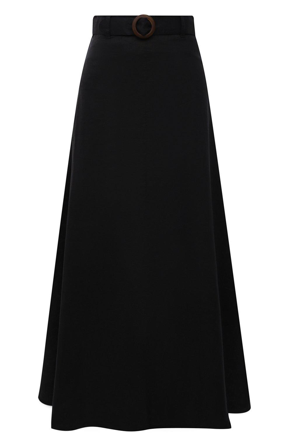Женская льняная юбка FAITHFULL THE BRAND черного цвета, арт. FF1671-BLK   Фото 1 (Женское Кросс-КТ: Юбка-пляжная одежда, Юбка-одежда; Материал внешний: Лен; Длина Ж (юбки, платья, шорты): Макси; Материал подклада: Вискоза; Стили: Бохо)