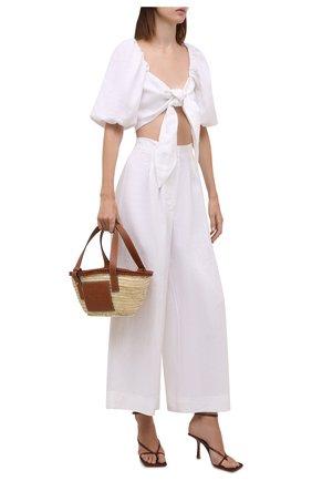 Женские льняные брюки FAITHFULL THE BRAND белого цвета, арт. FF1960-WHT   Фото 2 (Длина (брюки, джинсы): Стандартные; Материал внешний: Лен; Женское Кросс-КТ: Брюки-одежда, Брюки-пляжная одежда; Силуэт Ж (брюки и джинсы): Широкие; Стили: Бохо)