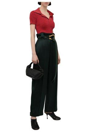 Женский пуловер BOTTEGA VENETA красного цвета, арт. 672044/V0Z30   Фото 2 (Длина (для топов): Стандартные; Материал внешний: Металлизированное волокно, Синтетический материал; Рукава: Короткие; Женское Кросс-КТ: Пуловер-одежда; Стили: Кэжуэл)