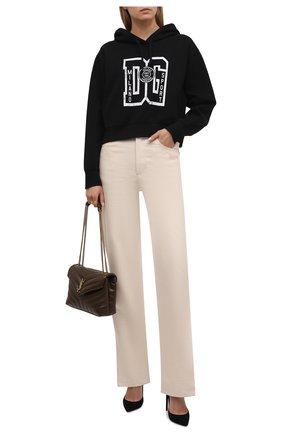 Женский хлопковое худи DOLCE & GABBANA черного цвета, арт. F9K14T/G7BEQ | Фото 2 (Рукава: Длинные; Материал внешний: Синтетический материал, Хлопок; Длина (для топов): Стандартные; Женское Кросс-КТ: Худи-одежда; Стили: Спорт-шик)