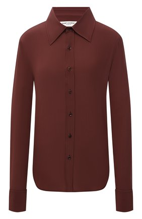 Женская шелковая рубашка SAINT LAURENT коричневого цвета, арт. 663493/Y100W   Фото 1 (Длина (для топов): Стандартные; Материал внешний: Шелк; Рукава: Длинные; Женское Кросс-КТ: Рубашка-одежда; Принт: Без принта; Стили: Кэжуэл)
