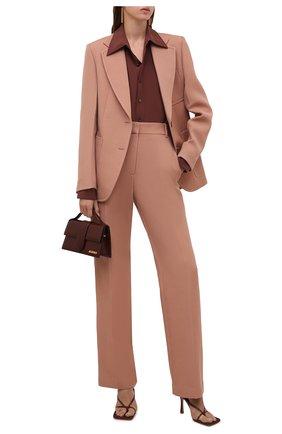 Женская шелковая рубашка SAINT LAURENT коричневого цвета, арт. 663493/Y100W   Фото 2 (Длина (для топов): Стандартные; Материал внешний: Шелк; Рукава: Длинные; Женское Кросс-КТ: Рубашка-одежда; Принт: Без принта; Стили: Кэжуэл)