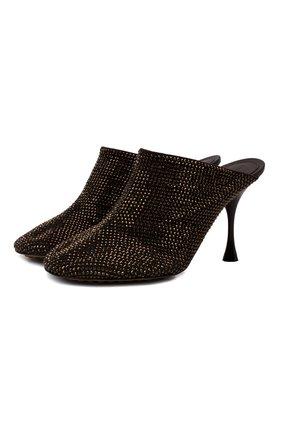 Женские кожаные мюли dot BOTTEGA VENETA темно-коричневого цвета, арт. 667181/V15G1 | Фото 1 (Материал внутренний: Натуральная кожа; Каблук тип: Шпилька; Каблук высота: Высокий; Подошва: Плоская)