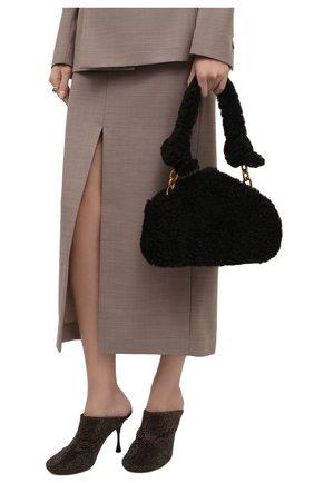 Женские кожаные мюли dot BOTTEGA VENETA темно-коричневого цвета, арт. 667181/V15G1 | Фото 2 (Материал внутренний: Натуральная кожа; Каблук тип: Шпилька; Каблук высота: Высокий; Подошва: Плоская)