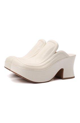 Женские кожаные сабо wedge BOTTEGA VENETA белого цвета, арт. 667212/V1000 | Фото 1 (Материал внутренний: Натуральная кожа; Каблук тип: Устойчивый; Подошва: Платформа; Каблук высота: Высокий)