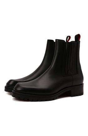 Мужские кожаные челси motok CHRISTIAN LOUBOUTIN черного цвета, арт. 3211081/M0T0K FLAT | Фото 1 (Материал внутренний: Натуральная кожа; Подошва: Плоская; Мужское Кросс-КТ: Сапоги-обувь, Челси-обувь)