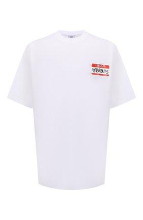 Мужская хлопковая футболка VETEMENTS белого цвета, арт. UE52TR140W 1602/M | Фото 1 (Рукава: Короткие; Длина (для топов): Удлиненные; Материал внешний: Хлопок; Принт: С принтом; Стили: Спорт-шик)